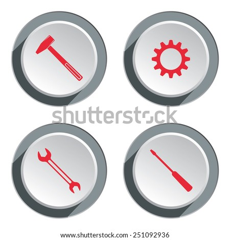 Screwdriver, cogwheel, hammer, wrench key icon, bolt nut. Repair fix tool symbol. Round 3d grey button with shadow. Vector - stock vector
