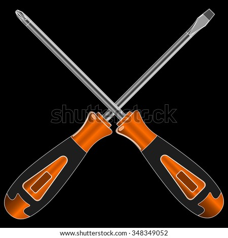 screwdriver with different bits on a black background vector - stock vector