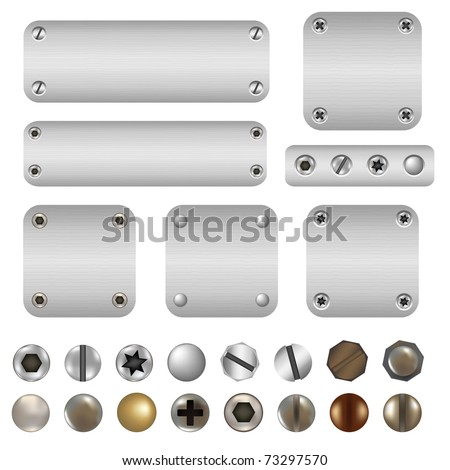 Screws And Bolts, Isolated On White Background, Vector Illustration - stock vector