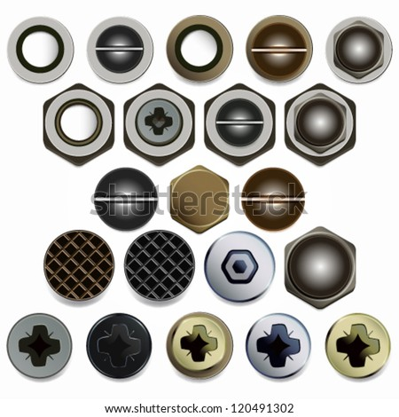 Screws, bolts and nuts heads vector set. Isolated on white background. - stock vector