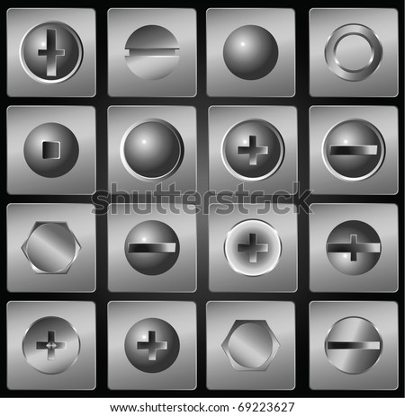 Screws, bolts, fasteners - stock vector