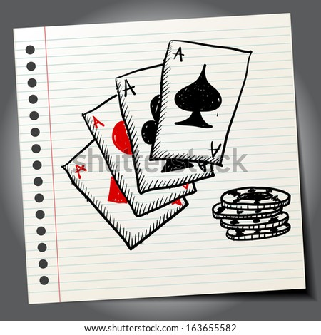 Scribble aces - stock vector