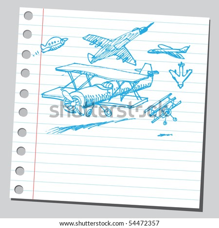 Scribble airplanes - stock vector