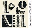 scribble alphabet, crazy doodle L - stock vector