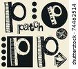 scribble alphabet, crazy doodle P - stock photo