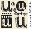 scribble alphabet, crazy doodle U - stock vector