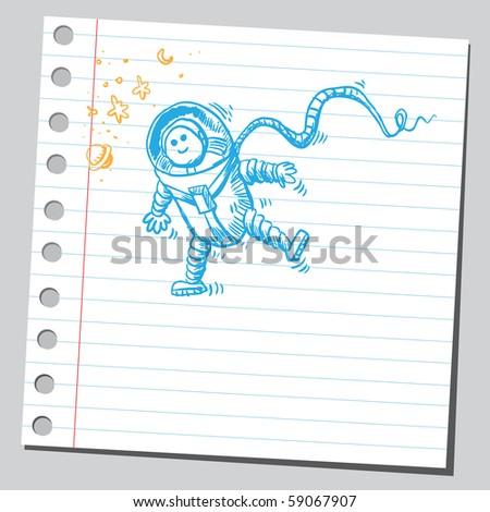 Scribble astronaut - stock vector