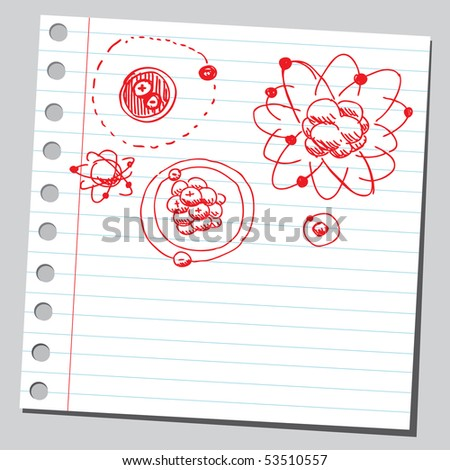 Scribble atoms - stock vector