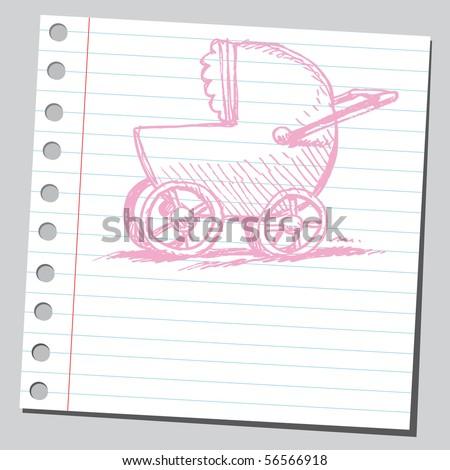 Scribble baby carriage - stock vector