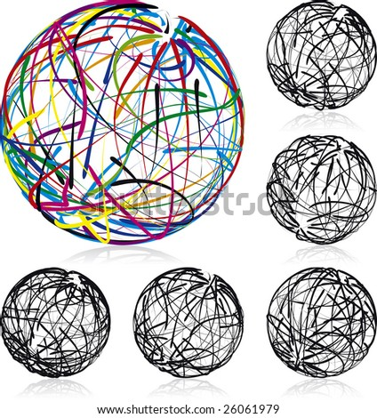 Scribble balls vector illustrated icons, every line is fully editable - stock vector