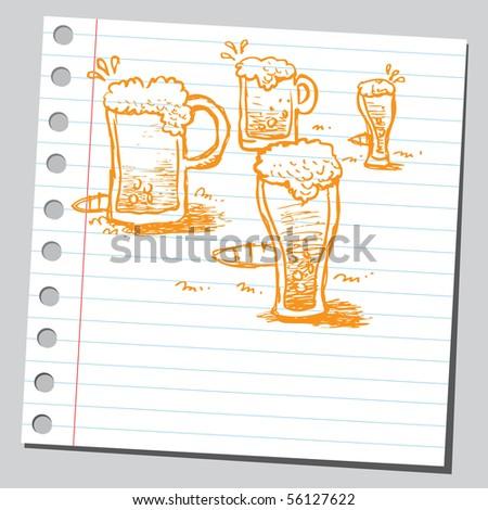Scribble beer mugs - stock vector