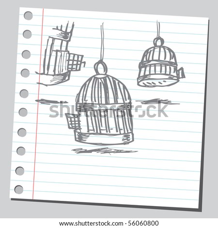 Scribble bird cages - stock vector