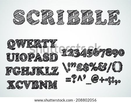 Scribble bordered alphabet with pen sketch  effect. Uppercase, numbers and all symbols included. - stock vector