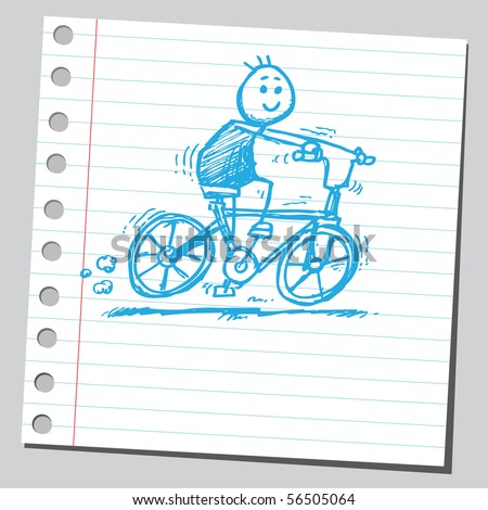 Scribble boy riding bicycle - stock vector