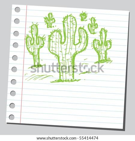 Scribble cactus - stock vector