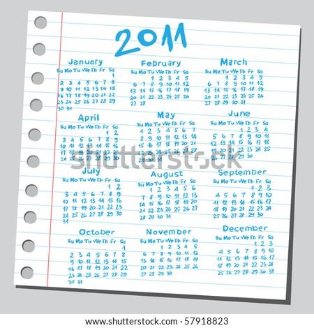"""Scribble """"2011 calendar"""". - stock vector"""