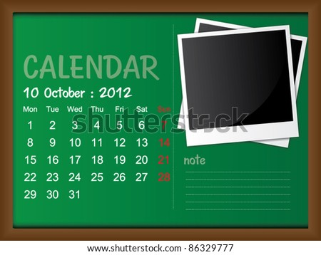 Scribble calendar on the blackboard. October 2012