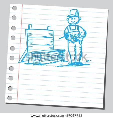 Scribble carpenter - stock vector