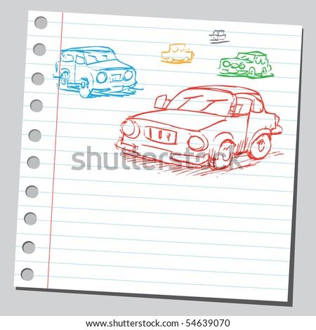 Scribble cars - stock vector