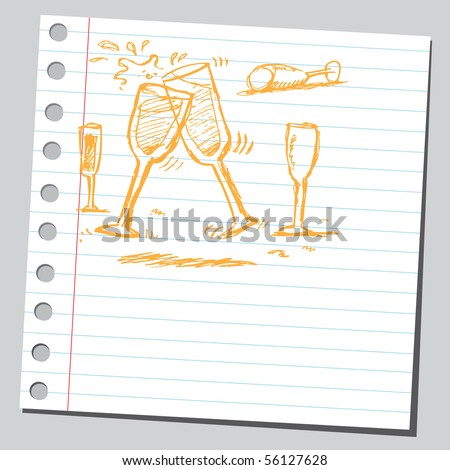 Scribble champagne flutes - stock vector
