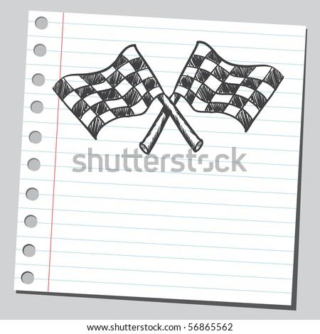Scribble checkered flags - stock vector
