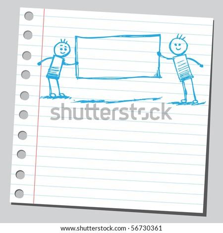 Scribble children holding empty banner - stock vector