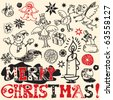 scribble christmas, funny doodles, hand drawn design elements - stock photo