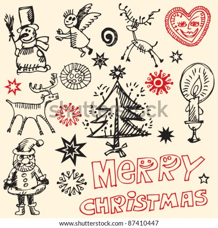scribble christmas, funny doodles, hand drawn design elements - stock vector