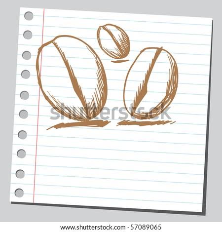 Scribble coffee beans - stock vector