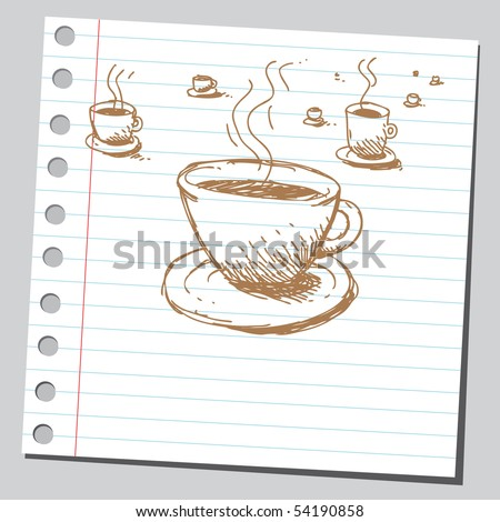 Scribble coffee cups - stock vector