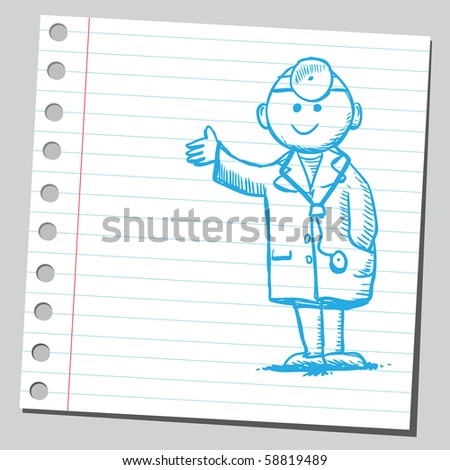 Scribble doctor - stock vector