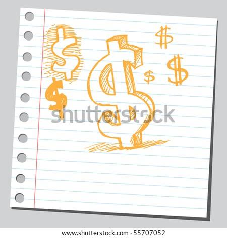 Scribble dollar symbol - stock vector