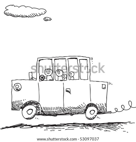Scribble family traveling - stock vector