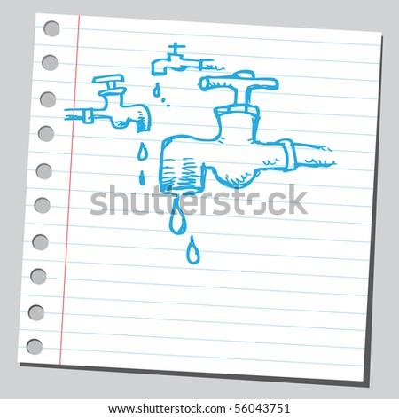 Scribble faucets - stock vector