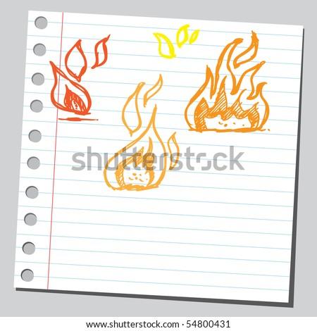 Scribble fire - stock vector