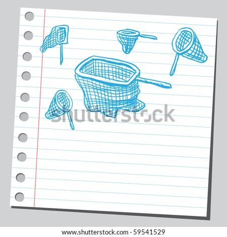 Scribble fish nets and hunting nets - stock vector