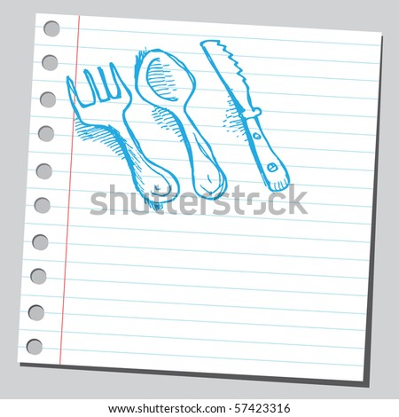 Scribble fork,spoon and knife - stock vector
