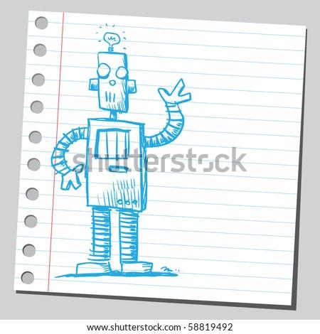 Scribble funny robot - stock vector