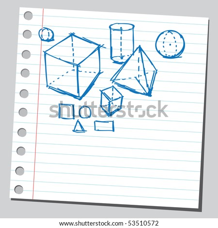 Scribble geometric shapes - stock vector