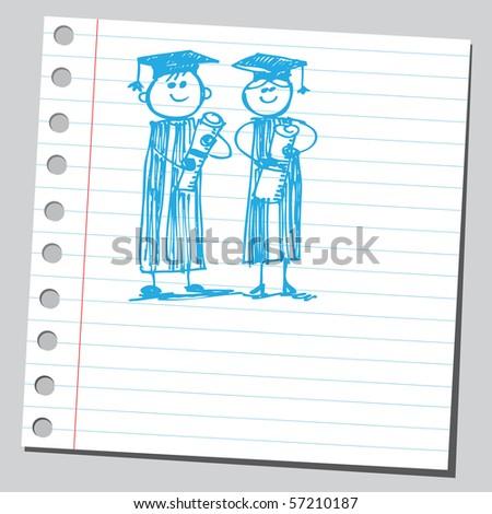 Scribble graduates - stock vector