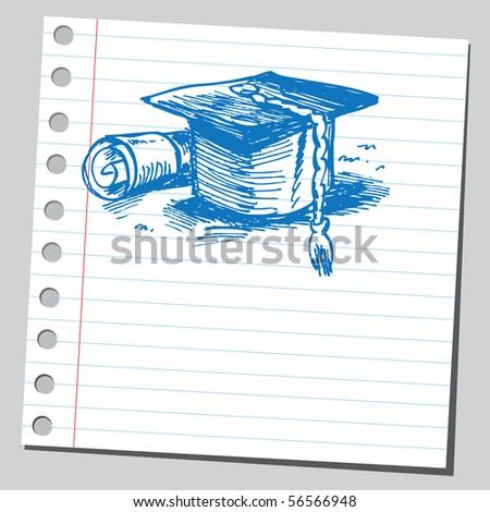 Scribble graduation cap and diploma - stock vector