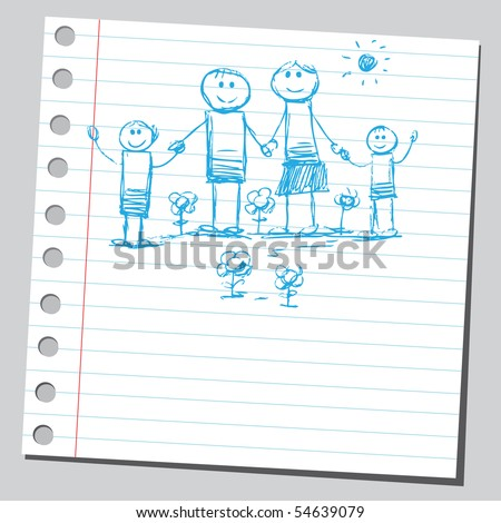 Scribble happy family - stock vector