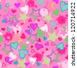 scribble hearts seamless background - stock vector