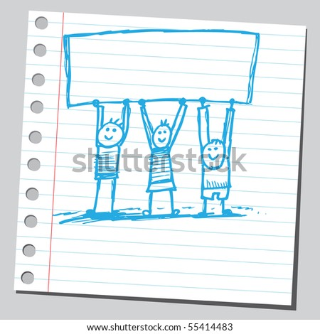 Scribble kids holding banner - stock vector