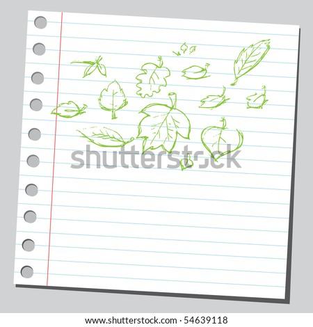 Scribble leafs - stock vector