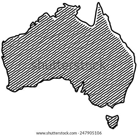 Scribble Map of Australia - stock vector