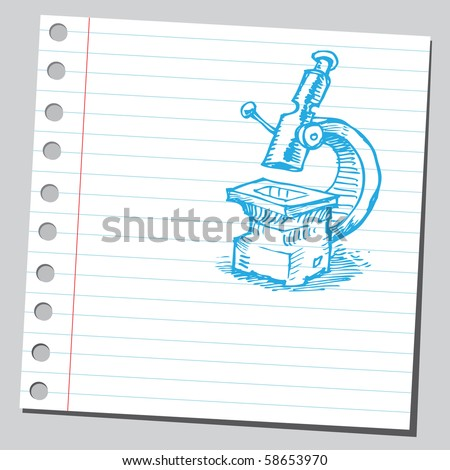 Scribble microscope - stock vector