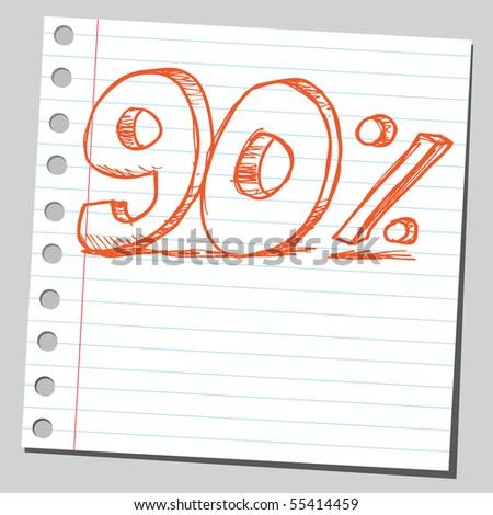 Scribble ninety percent - stock vector