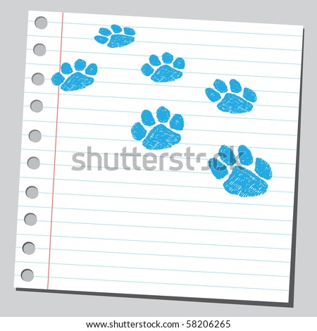 Scribble paw print - stock vector