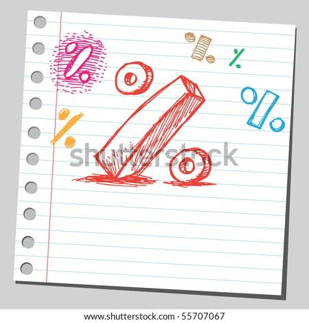 Scribble percent symbol - stock vector
